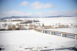 Ausblick von der Terasse auf den Teich